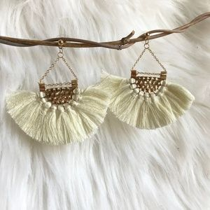 Boho fan-shaped tassel fringe statement earrings